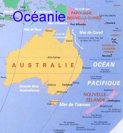 carte oceanie geographique - Image